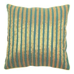 Turquoise and gold pillow
