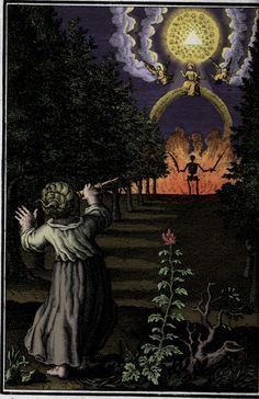 """Ilustración para """"L'ame amante de son Dieu"""" por Hermannus Hugo & D'Othan Vaenius. El libro entero puede consultarse en Internet Arhive: https://archive.org/details/lameamantedeson00hugo"""