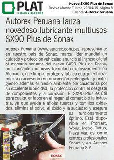 Autorex Peruana: Nuevo Sonax SX 90 Plus en la revista Mundo Tuerca de Perú (22/04/15)
