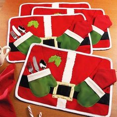 1pc Christmas Santa Suit Costume Table Cover Pad Placemat Mat Cutlery Holder DIY | Home & Garden, Kitchen, Dining & Bar, Linens & Textiles | eBay!