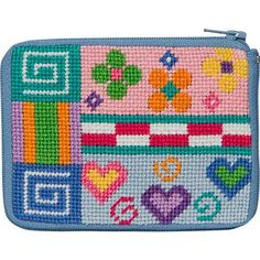 """Stitch & Zip needlepoint kits are pre-finished. This means this kit makes up into a handy coin purse or credit card purse just by zipping it up once you have stitched it. Patchwork Stitch & Zip Coin Purse Features: The design measures 4.5"""" x 3.25"""". The design is color-printed on 14 mesh needlepoint canvas. The Stitch & Zip needlepoint kit comes with cotton floss, a needle and instructions. For shipping costs and information see our shipping policy. Contact us with questions about Sti Needlepoint Pillows, Needlepoint Kits, Needlepoint Canvases, Interchangeable Knitting Needles, Easy Stitch, Cross Stitch Heart, Tapestry Crochet, Embroidery Needles, Doll Crafts"""