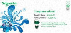 A week full of walk, a week full of run but there are few who got ahead in this marathon! Congratulations Mr Sarath Babu and Mr Amit Gumber for winning weekly prizes in The Energy Marathon.