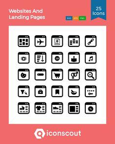 Websites And Landing Pages Icon Pack - 25 Glyph Icons Glyph Icon, Png Icons, Icon Pack, Icon Font, Glyphs, Design Development, Landing, Website