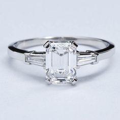 Classic Emerald Cut Diamond Engagement Ring at 1stdibs #DazzlingDiamondEngagementRings
