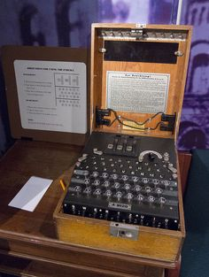 Enigma machine with instructions at National Cryptological Museum.     Via Laughing Squid