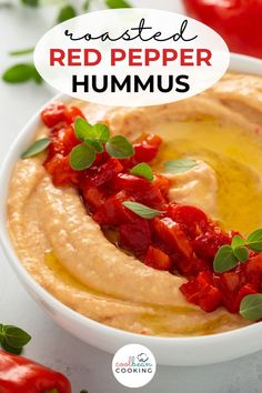 This creamy and smooth appetizer or snack is a flavorful blend of chickpeas, roasted red peppers, and spice that is perfect for dipping. Grab your favorite veggies and start snacking! Best Appetizer Recipes, Tailgating Recipes, Fun Easy Recipes, Healthy Appetizers, Free Recipes, Potato Side Dishes, Healthy Side Dishes, Side Dish Recipes, Red Pepper Hummus