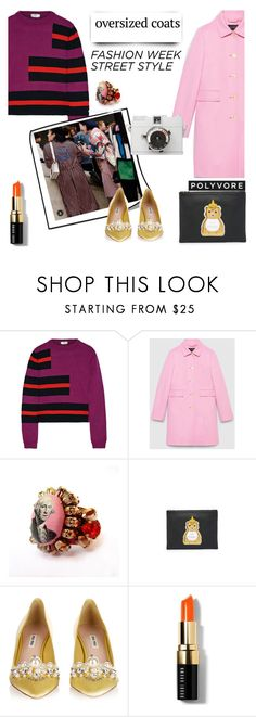 """oversized coat"" by lianafourmouzi ❤ liked on Polyvore featuring Fendi, Gucci, Bijoux de Famille, Patricia Chang, Miu Miu and Bobbi Brown Cosmetics"