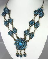 Amazing HUGE Vintage Czech Art Deco Turquoise Glass Bead Brass Dangle Necklace