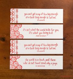 book marks with quote