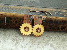 Copper rivet gears earrings by DragonflyDreamers on Etsy, $22.00