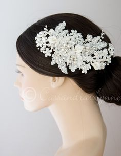 Lace and Calla Lily Bridal Hair Clip | Cassandra Lynne