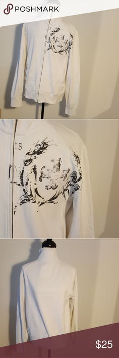 Men's Guess Jeans Vintage White Zip Up Sweater In great condition!   No trades! Guess Sweaters Zip Up