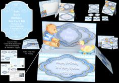 """Baby Boy's Birthday"" Pop-Up Box card Kit with matching envelope. Comes with full instructions and folds flat for posting, ideal for 1 to 3 year olds. £1.60 and only available from https://www.facebook.com/photo.php?fbid=10201801856403078&set=oa.1504878103089514&type=3&theater"