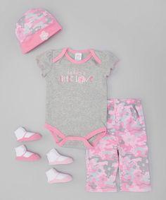 Love this Baby Essentials Gray & Pink 'Daddy's Little Love' Bodysuit Set - Infant by Baby Essentials on #zulily! #zulilyfinds