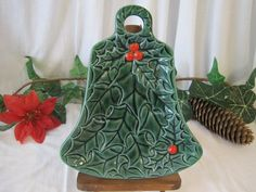Vintage Lefton Green Holly Berry Bell Shaped by cindyloucreations