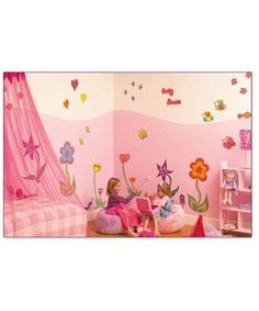 I am liking the theme of bugs and butterflies for the girls. I like the wall paint idea...but not the color. Doing decals would be so easy to.
