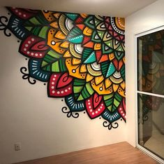 Mandala Wall - just what I want to do in my laundry room! me encanta! me encanta. Yes of curse Example of a mandala as an indoor mural. Colourful Mandalas on Wall No automatic alt text available. Home Decorators Collection Flooring would love this on my c Wall Art Designs, Paint Designs, Wall Design, Design Art, Mandala Mural, Mandala Drawing, Mandala On Wall, Stone Mandala, Mandala Painting