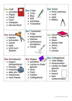 Schulsachen Tabu Differenziert German Grammar, German Words, Learn German, Learn English, Deutsch Language, Germany Language, Language Acquisition, Hand Lettering Tutorial, German English