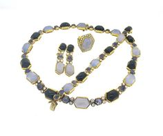 18k Gold 4.25ctw Diamond Onyx Sapphire Chalcedony Suite Available in the April 27 Auction on hamptonauction.com !!