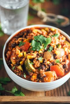 Vegan Quinoa Chili that is in high in protein and fiber and has NO cholesterol!