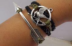 game braceletsMockingjay pin bracelet couple by jewellrydesign, $8.99