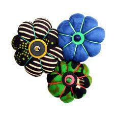 toubab paris broche en tissu wax fleurs madame marronbleuvert - Vert Et Violet
