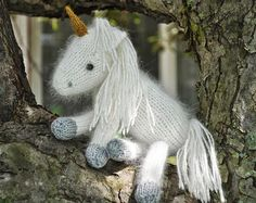Snow White the Unicorn and her baby Liliana PDF Knitting Pattern on Etsy, £3.09