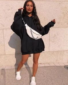Never Not Lookin' Hot 🔥  wearing our Vickie Black Oversized Drawstring Hoodie & Emi White Faux Leather Chain Slogan Bum Bag 💕⚡ … Casual Outfits, Girl Outfits, Cute Outfits, Fashion Outfits, Fashion Fashion, Fashion Women, Fashion Jewelry, Aesthetic Clothes, Streetwear Fashion