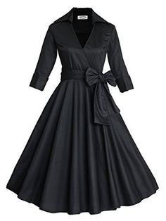Babyonline 3/4 Sleeve Classy V Neck Audrey Hepburn Style 1940's Rockabilly Dress, http://www.amazon.com/dp/B01CJS606I/ref=cm_sw_r_pi_awdm_x_bUHhybF7Y6A5X