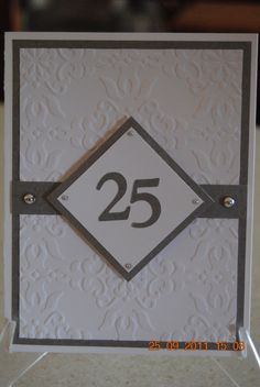 Handcrafted Embossed 25th Anniversary Card