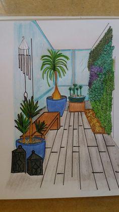 Projeto de uma varanda de  apartamento.  Cheia de charme e amor.