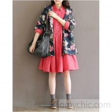 Pink bottoming dress plaid shirt blouse cotton shift dresses