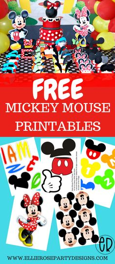 FREE Mickey Mouse printables and party ideas. DIY decorations for boys and girls #diypartydecorationsbirthday