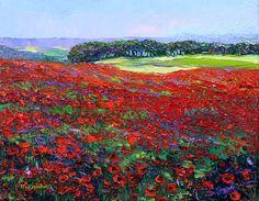 Poppy Field Landscape Textured Palette Knife 8x10 by NuFineArt5