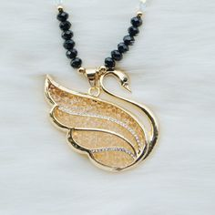 Big pendant necklace-Swan pendant,Long necklace,Check jewelry