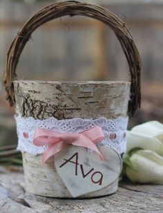 Birch Flower Girl Basket Rustic Wedding by MichelesCottage on Etsy, $44.00