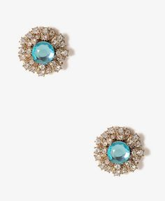 Rhinestone Stud Earrings in Mint/clear- $4.80 at Forever 21
