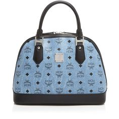 Mcm Satchel ($672) ❤ liked on Polyvore featuring bags, handbags, denim, satchel handbags, blue handbags, denim handbags, mcm and satchel hand bags
