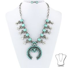 "• Color : Silver, Turquoise. Necklace is 20"" in length. Pendant is 2.5"" in height. It's not WHAT you spend, but HOW you wear it that counts. The KEY is often to dress up inexpensive basics with."