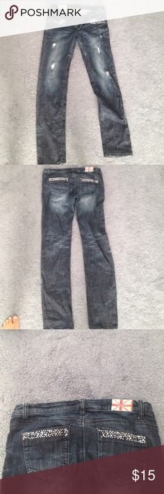 Straight leg jeans . These jeans have barely been worn. In really good condition. Some of the rhinestones are missing . Fits like a 8/9 Love Culture Jeans Straight Leg