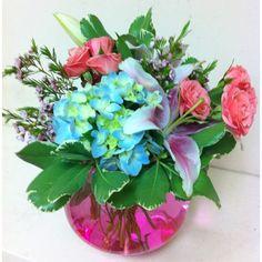 A pink and blue floral arrangement #originaldesign