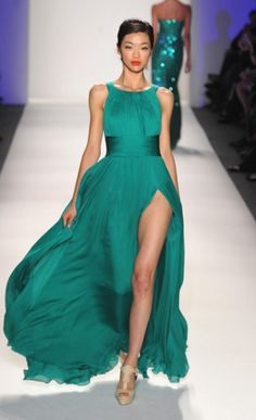 Farah Angsana - Fall 2012 love the color not the slit up the leg lol Bridalparty dress