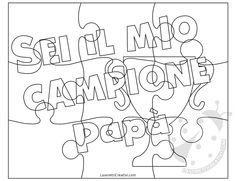 Puzzle da personalizzare Fathers Day, Writing, School, Crafts, Puzzle, Google, Party, Autism, Spring