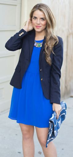 be pretty - royal blue dress with navy jacket