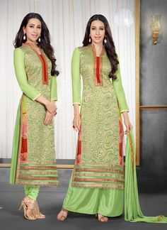 Rozdeal designer Soft Green Salwar Kameez  BOTTOM FABRIC: Pant and Plazzo DUPATTA FABRIC: PRINTED CHIFFON INNER FABRIC: AMERICAN STYLE: Churidar Suit FABRIC: 60gm Georgette, American Crep WORK: Embroidered COLOUR: Green OCCASION: Party, Wedding, Festival