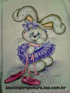 Coelha bailarina - pintura em tecido passo a passo
