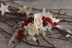 Diadema de flores flower headband from artificial, silk, preserved and dried flowers hair rubber band size uni Rubber Band Sizes, Hair Rubber Bands, Winter Christmas, Dried Flowers, Photo Props, Etsy, Uni, Babies, Flower Headbands