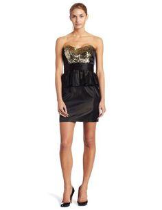 eb45964fd9 Abs By Allen Schwartz Womens Strapless Sequin Bodice Peplum Dress,  Black/gold, 4. Anikó · szilveszteri ruha