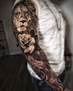 Tattoos Discover 100 Awesome Examples of Full Sleeve Tattoo Ideas A full sleeve tattoo is usually intricate from shoulder to wrist. Unlike small tattoos on the part of the arm the whole arm is the canvas for the tattoo. Lion Sleeve, Tiger Tattoo Sleeve, Realistic Tattoo Sleeve, Lion Tattoo Sleeves, Full Sleeve Tattoos, Sleeve Tattoos For Women, Tattoo Sleeve Designs, Arm Tattoos For Guys, Tattoo Designs Men