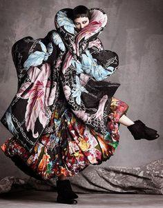 Tao Okamoto wears Yohji Yamamoto in 'The Development Of Form' by Luigi + Iango for Vogue Japan, September 2014.
